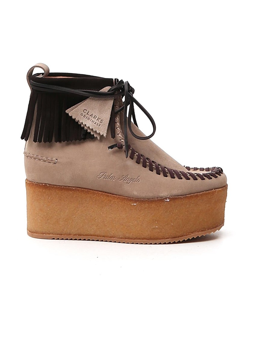 Palm Angels BROWN SUEDE ANKLE BOOTS