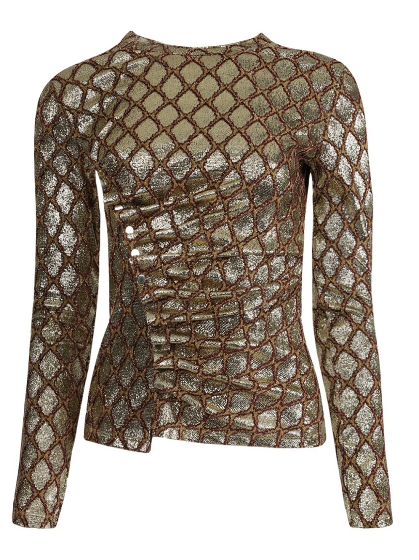Paco Rabanne Ruched Lamé-jacquard Top In Gold