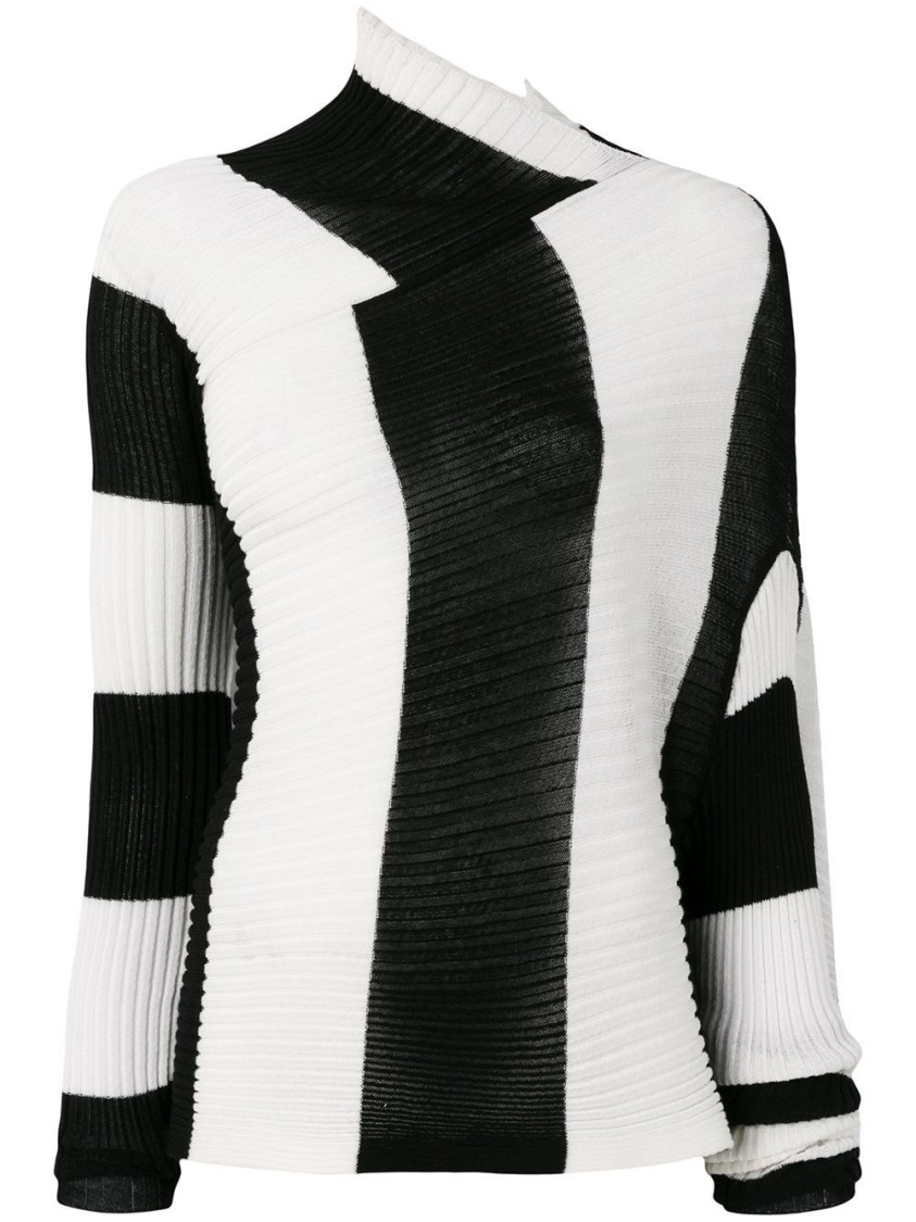 Marques' Almeida BLACK AND WHITE DRAPED KNIT TOP