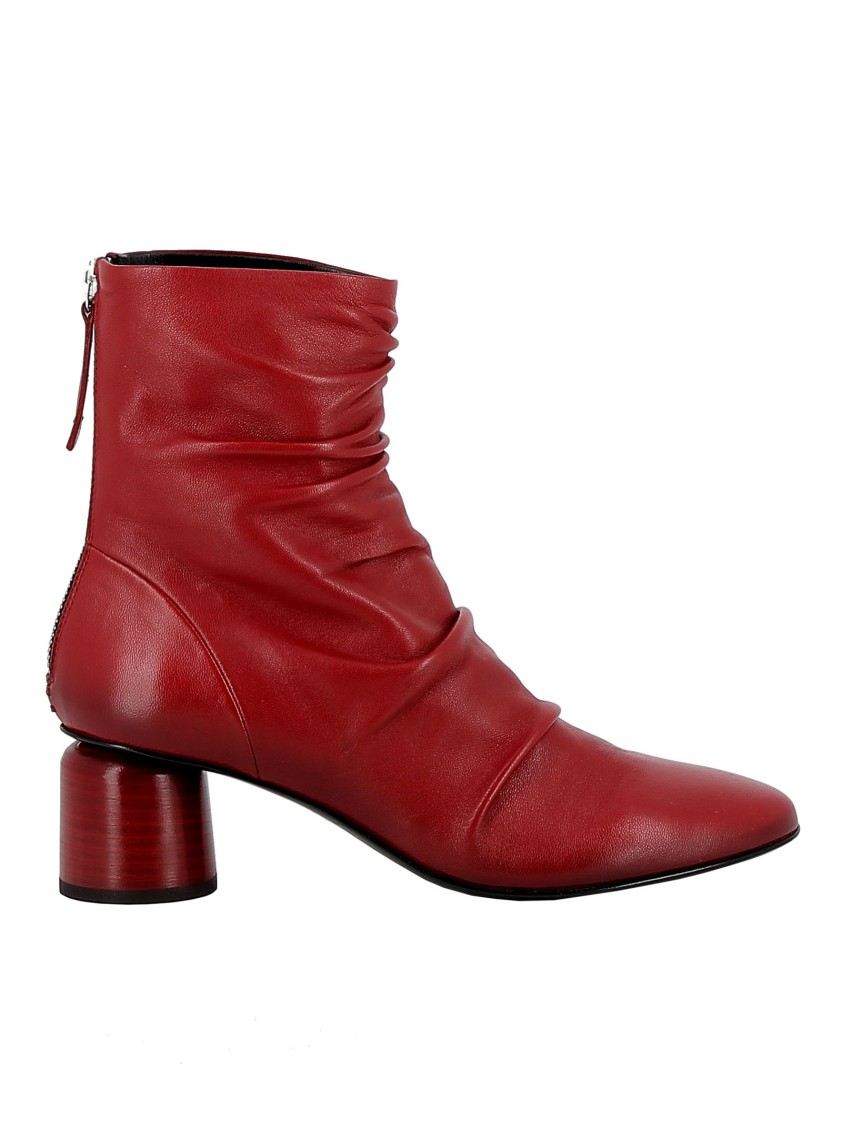 Halmanera RED LEATHER ANKLE BOOTS