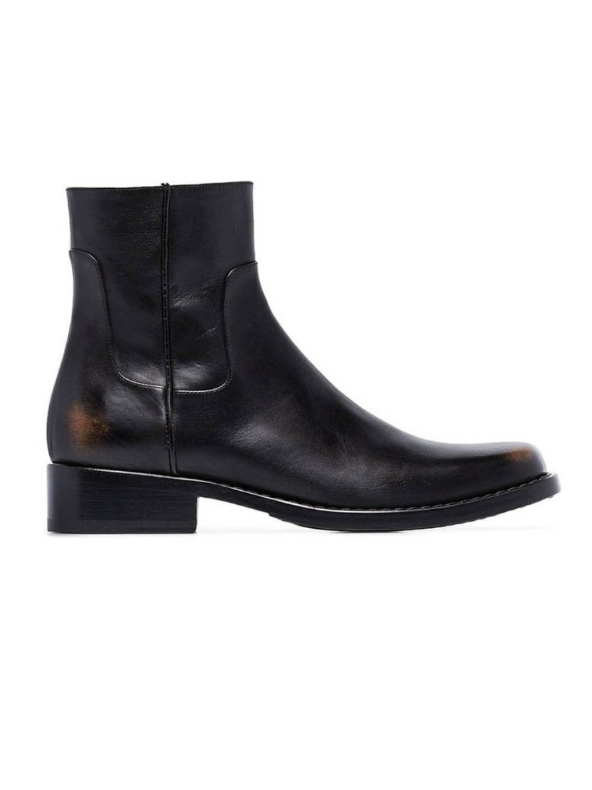 Raf Simons BLACK MEN'S LEATHER SQUARED ANKLE BOOTS