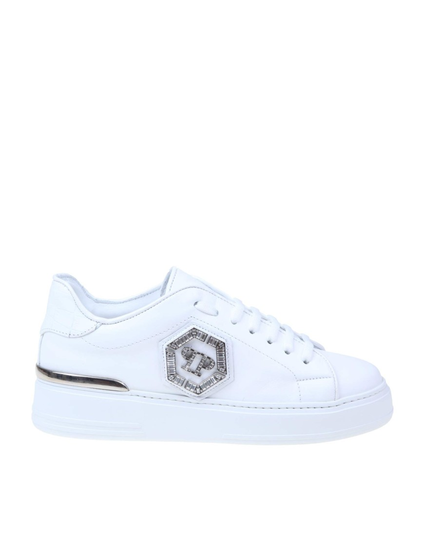 Philipp Plein LO-TOP SNEAKERS WITH STUDS IN WHITE LEATHER