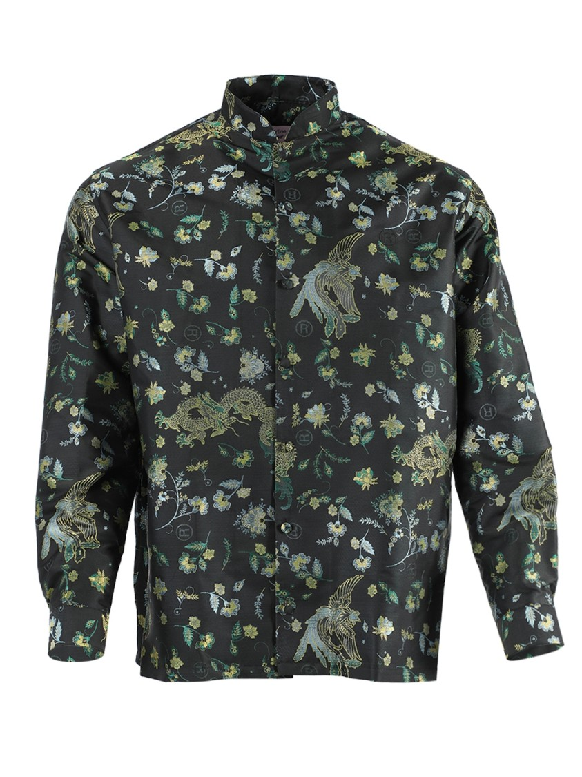 Embroidered Print Button-Down Shirt