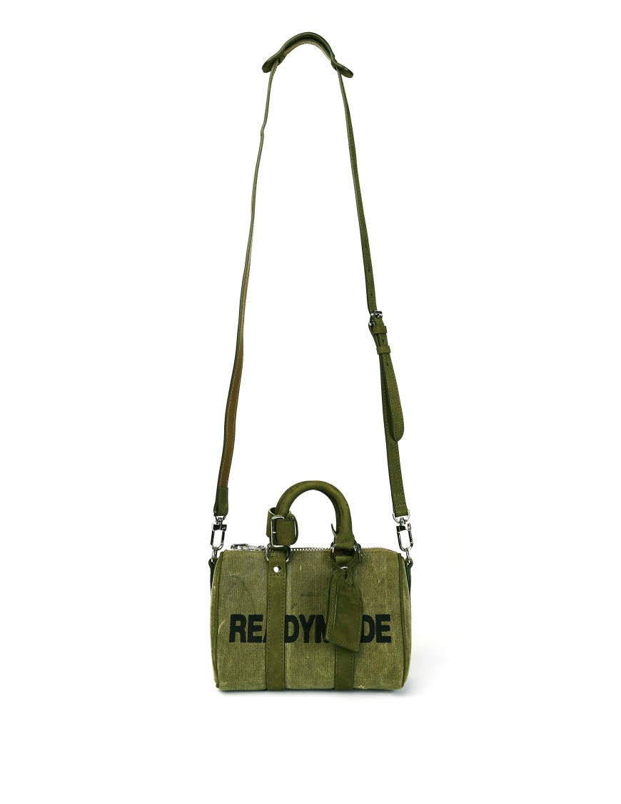 Readymade Embroidered Small Khaki Bag In Green