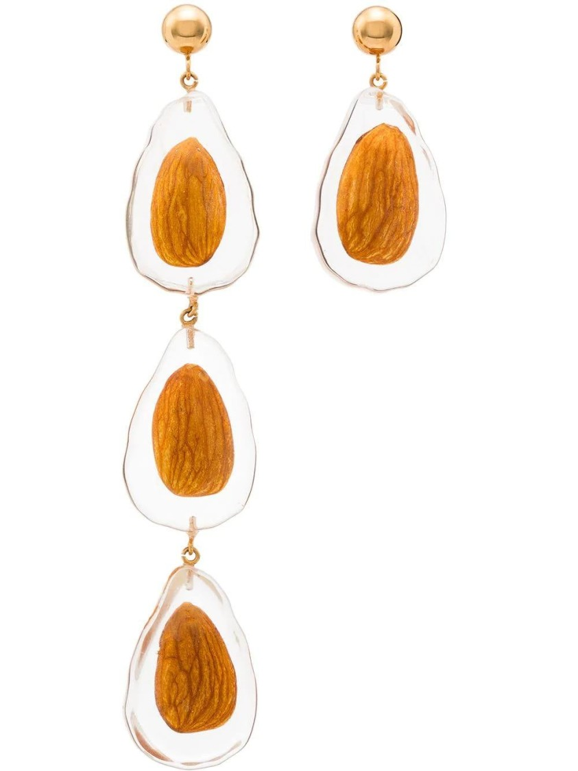 Jacquemus Jewelry BROWN WOMEN'S ALMOND EARRINGS