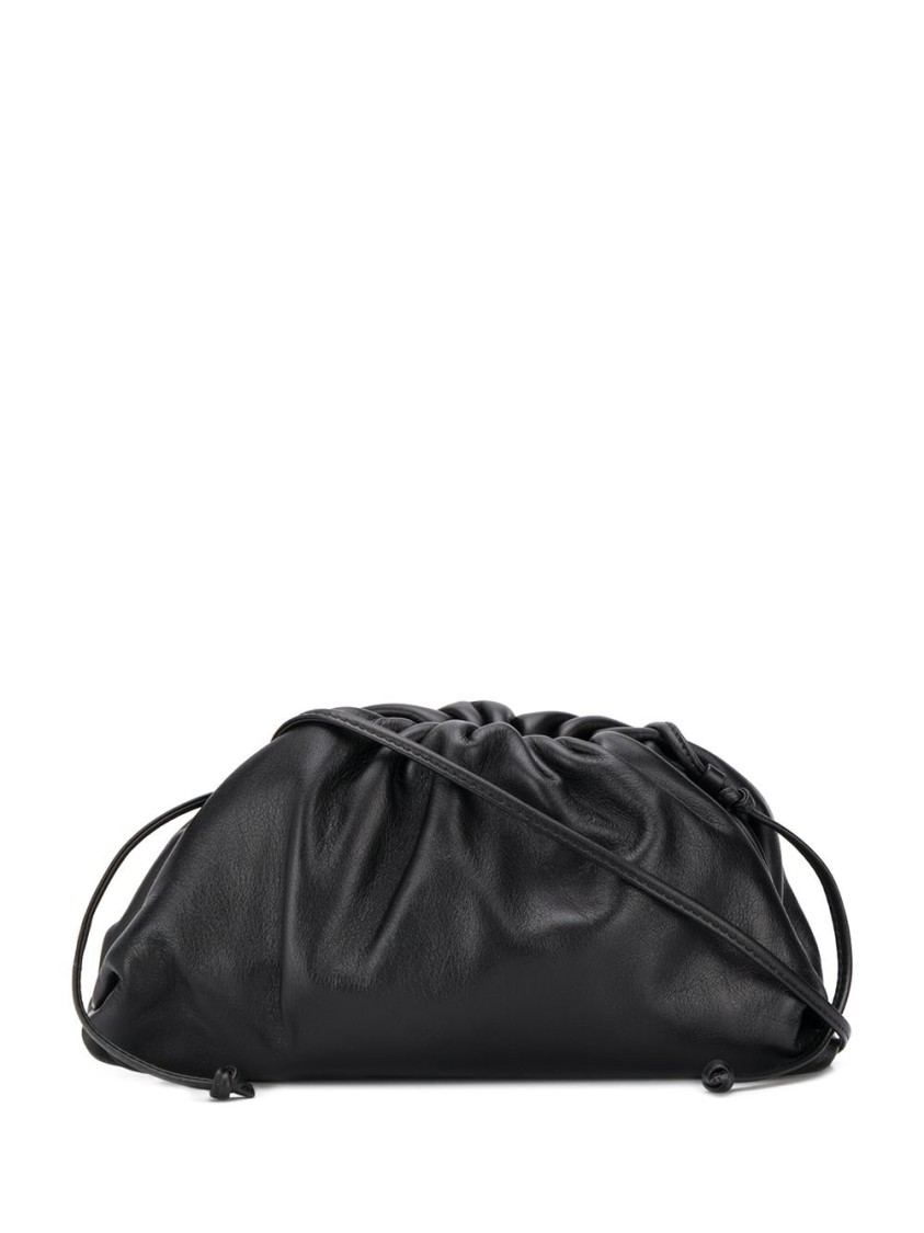 BOTTEGA VENETA THE POUCH BLACK LEATHER CLUTCH