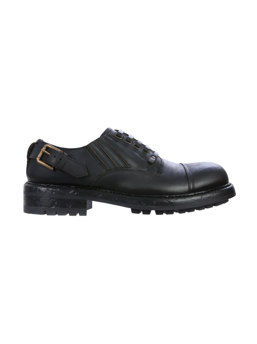 Dolce & Gabbana Leathers BLACK LEATHER LACE-UP SHOES