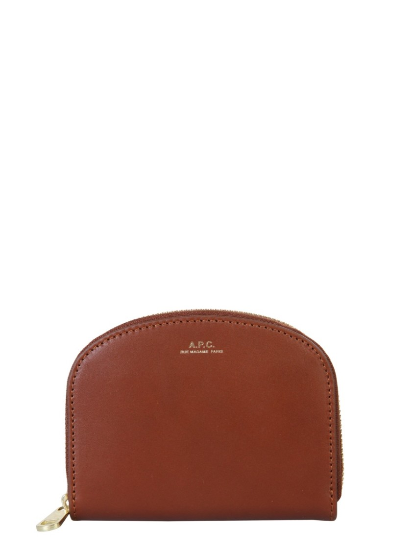 A.p.c. DEMI LUNE BROWN LEATHER WALLET