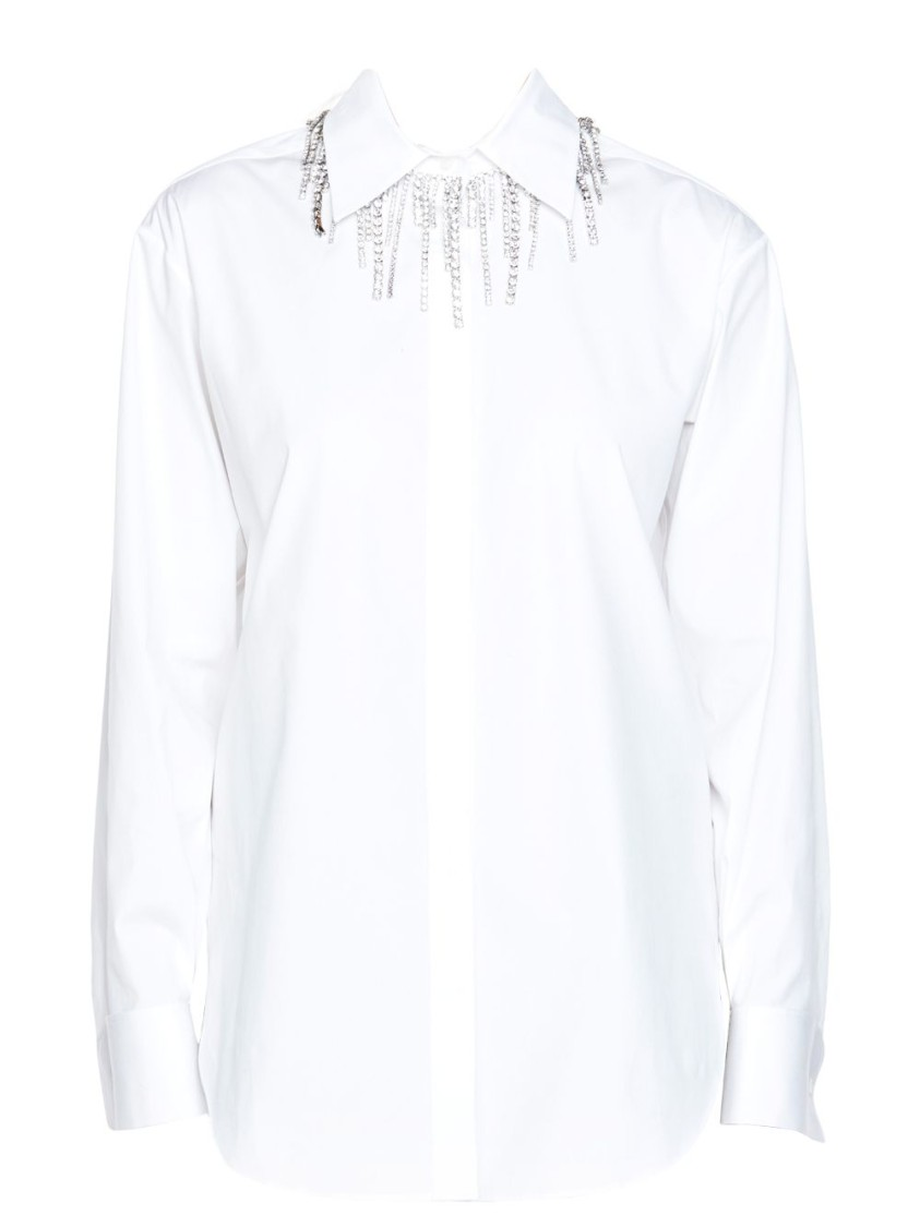 Area WHITE CRYSTAL COLLAR BLOUSE