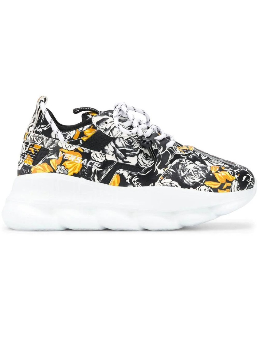 Versace WHITE, BLACK, AND GOLD BAROCCO PRINT MID-TOP SNEAKERS
