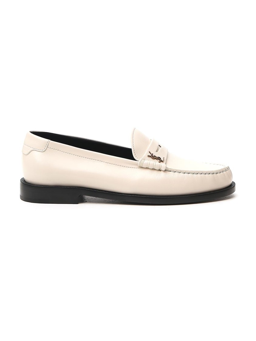Saint Laurent Leathers WHITE LEATHER LOAFERS