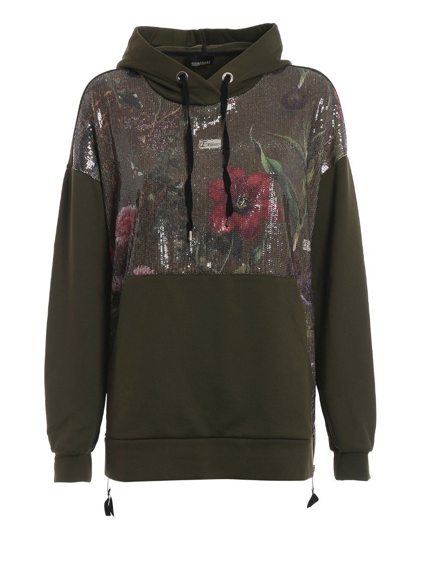 Sequined Floral Panel Over Hoodie