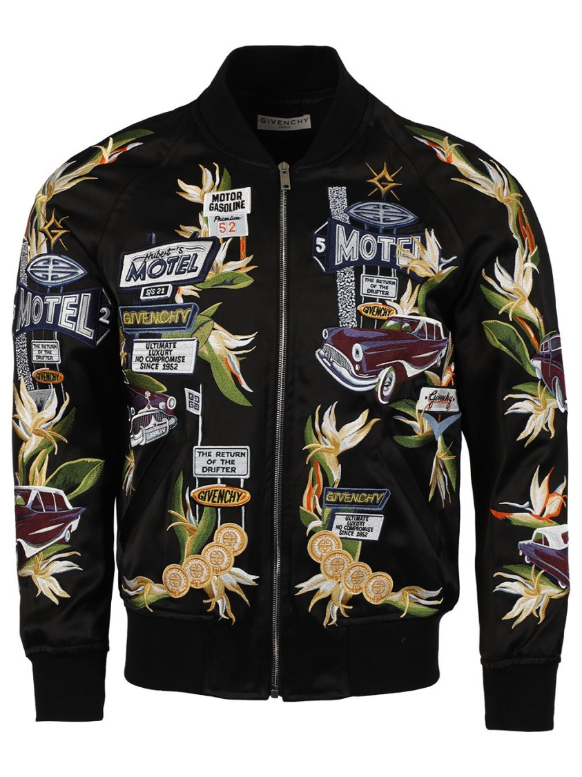 Givenchy EMBROIDERED MOTEL CAR MOTIF BOMBER JACKET, BLACK