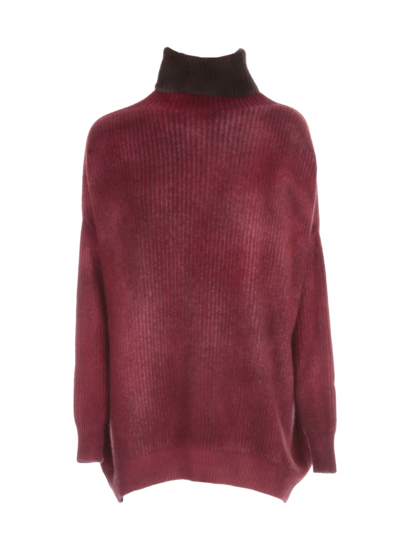 Avant Toi OVERSIZED HIGH NECK BICOLOR SWEATER