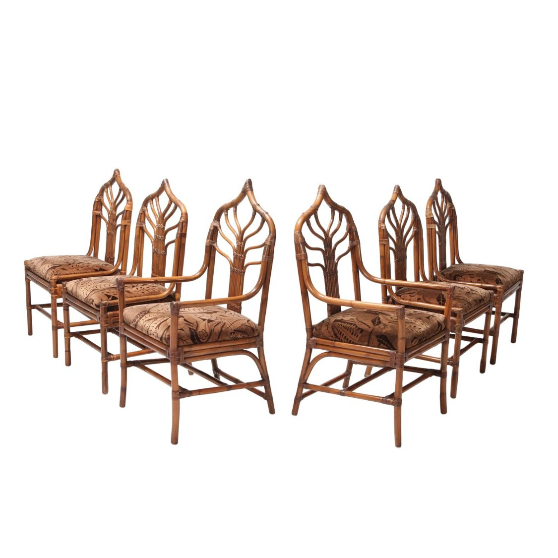 Regency Set Of Italian Bamboo Dining Chairs With Floral Cushions