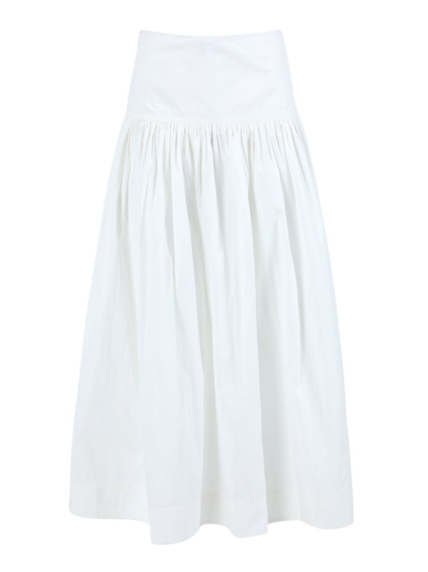 Co WHITE RUCHED MIDI SKIRT