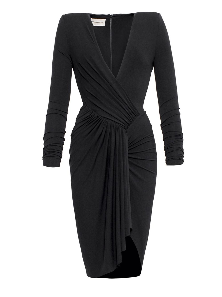 Alexandre Vauthier BLACK RUCHED V-NECK DRESS