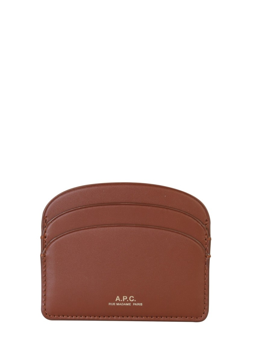 A.p.c. DEMI LUNE BROWN LEATHER CARD HOLDER