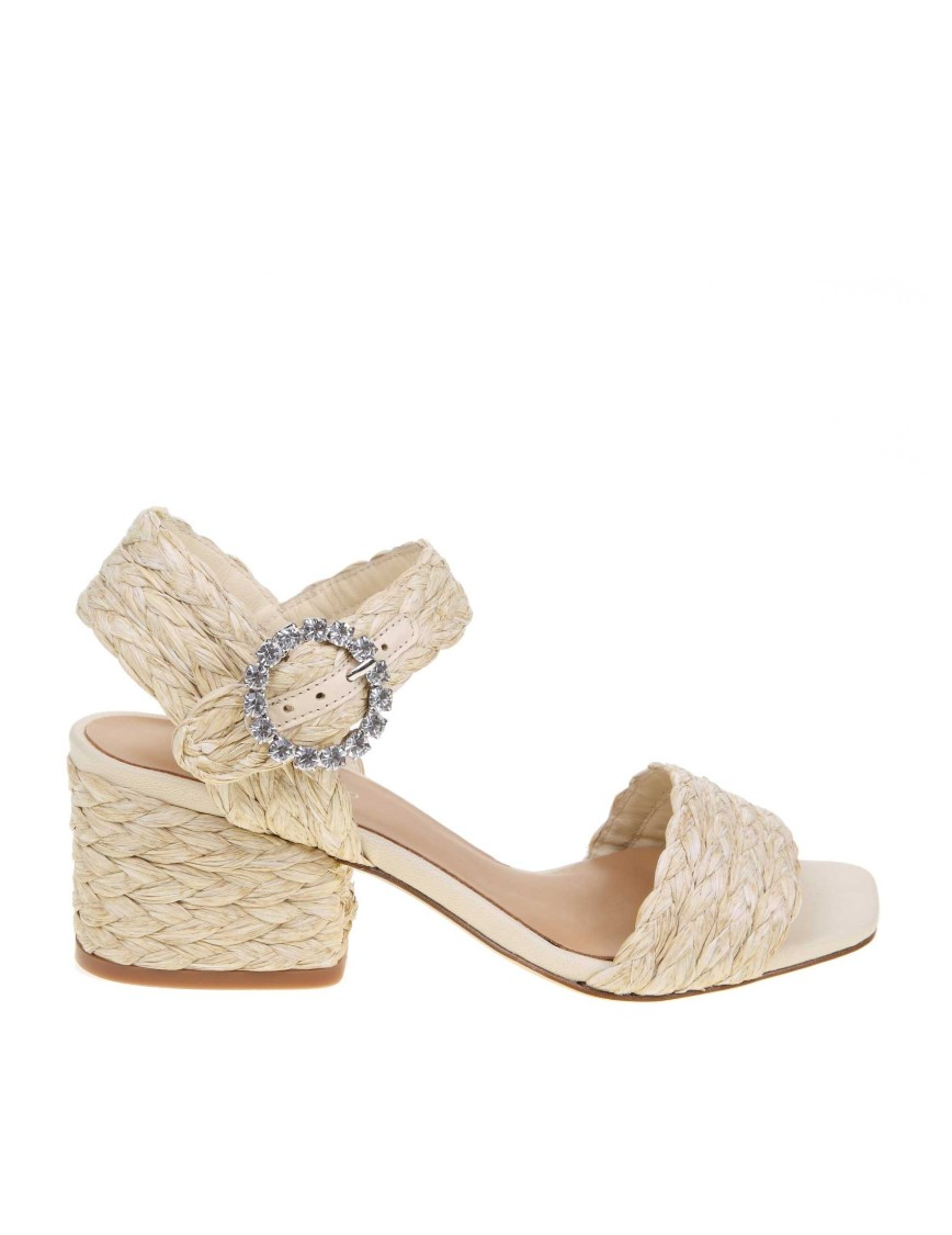 Paloma Barceló Mid heels 'SANDAL IN WOVEN RAFFIA NATURAL COLOR