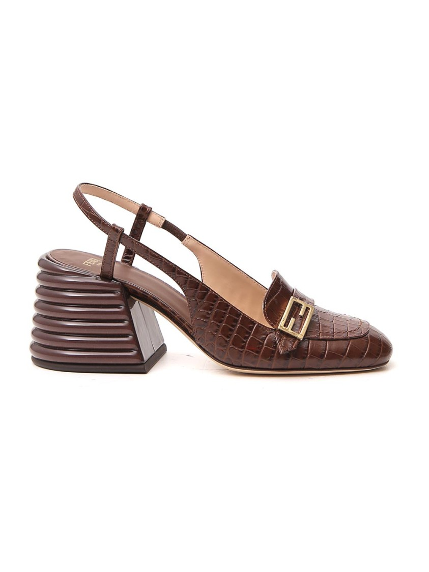 FENDI BROWN LEATHER LOAFERS