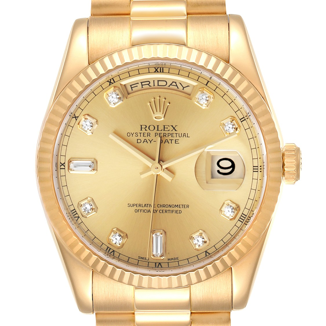Pre-owned Rolex President Day-date Yellow Gold Diamond Dial Mens Watch 118238