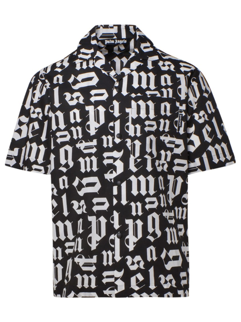 Palm Angels WHITE/BLACK COTTON SHIRT