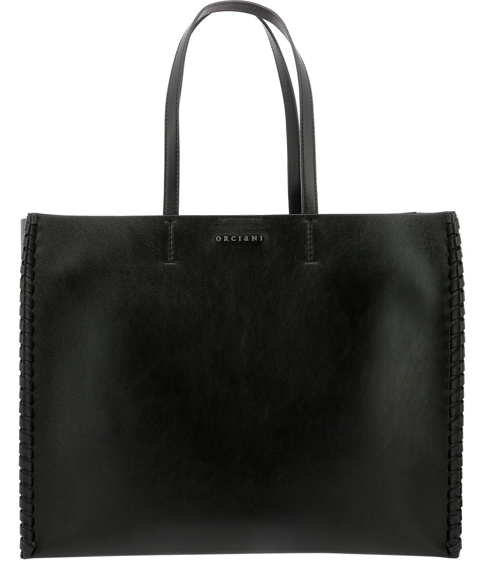Orciani Large Liberty Mesh Shopper In Black