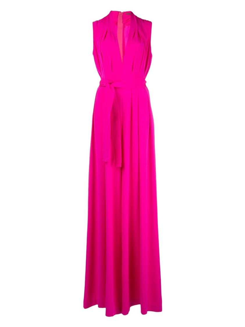 Adam Lippes SILK HOT PINK BELTED JUMPSUIT