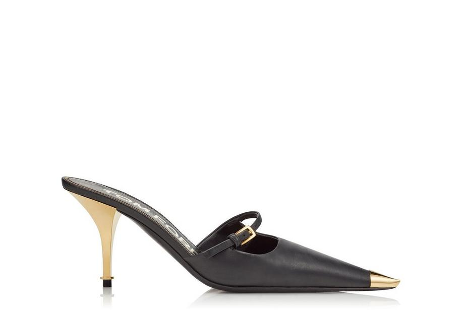 Tom Ford Leather Mary Jane Mule In Grey