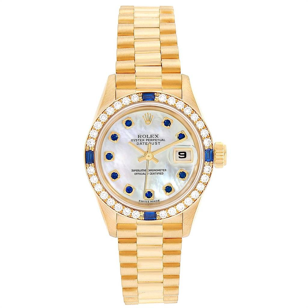 Rolex PRESIDENT DATEJUST 26 YELLOW GOLD DIAMOND SAPPHIRE LADIES WATCH 79088