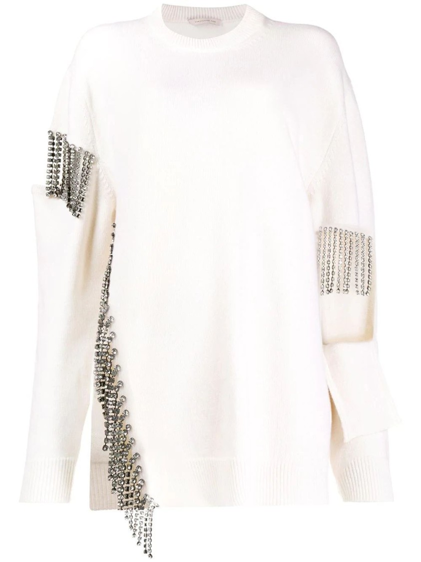 Christopher Kane Bridal: Crystal Cupchain Wool Sweater In White