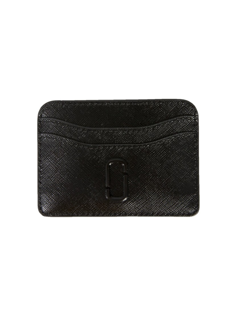 MARC JACOBS THE SNAPSHOT BLACK LEATHER CARD HOLDER