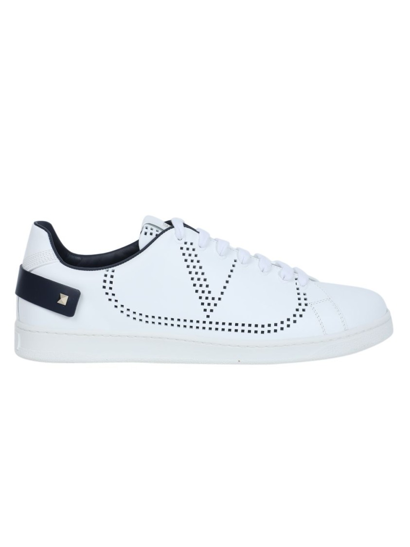 Valentino Leathers LEATHER BACKNET LOW-TOP SNEAKER