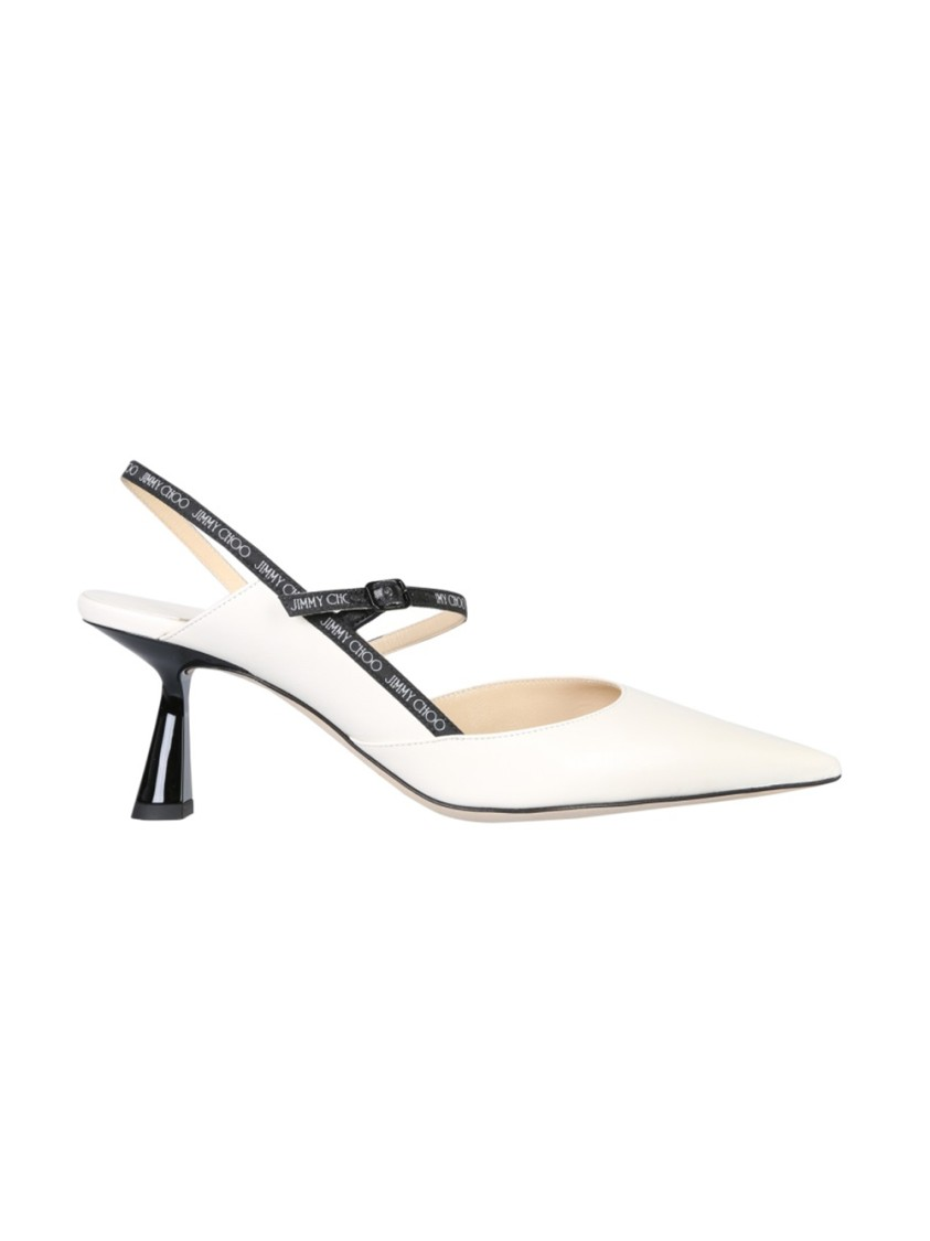 Jimmy Choo Leathers RAY 65 WHITE LEATHER SANDALS