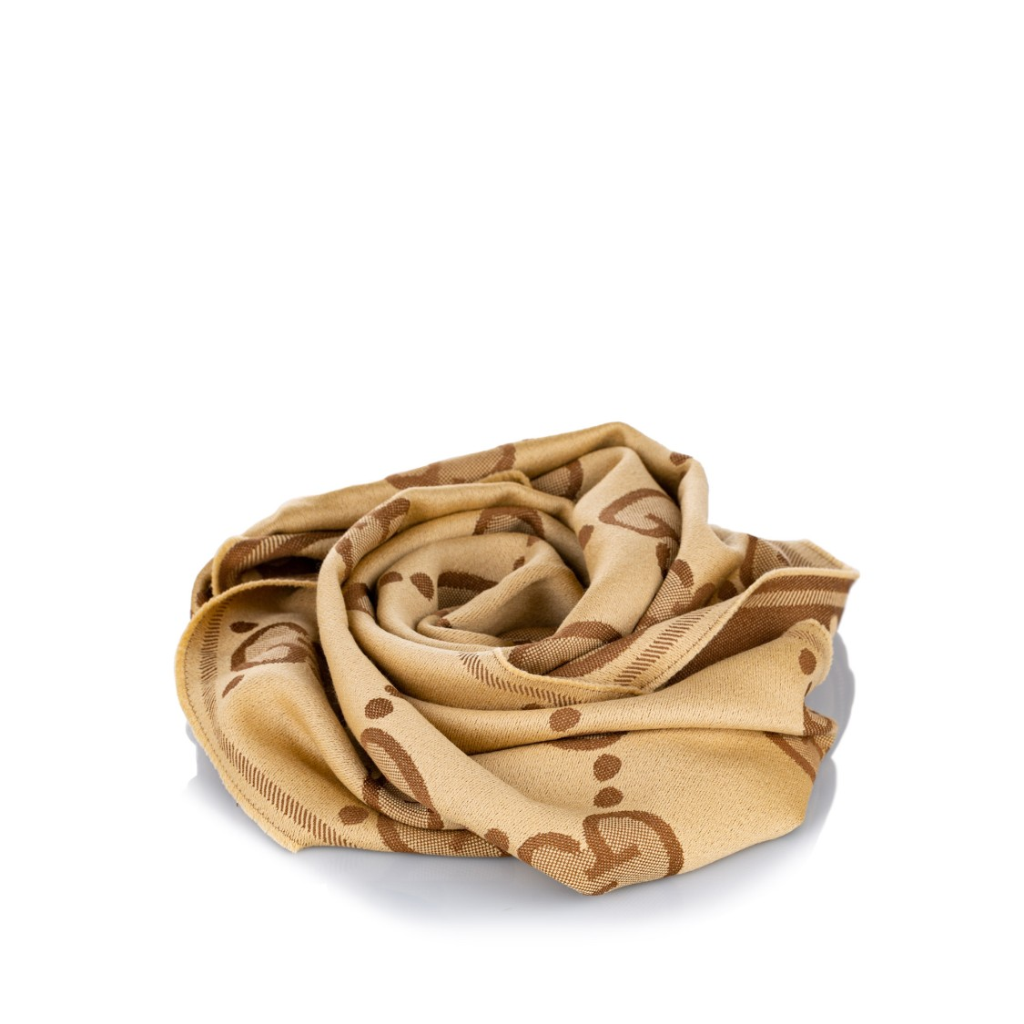 Gucci Gg Wool Scarf In Brown