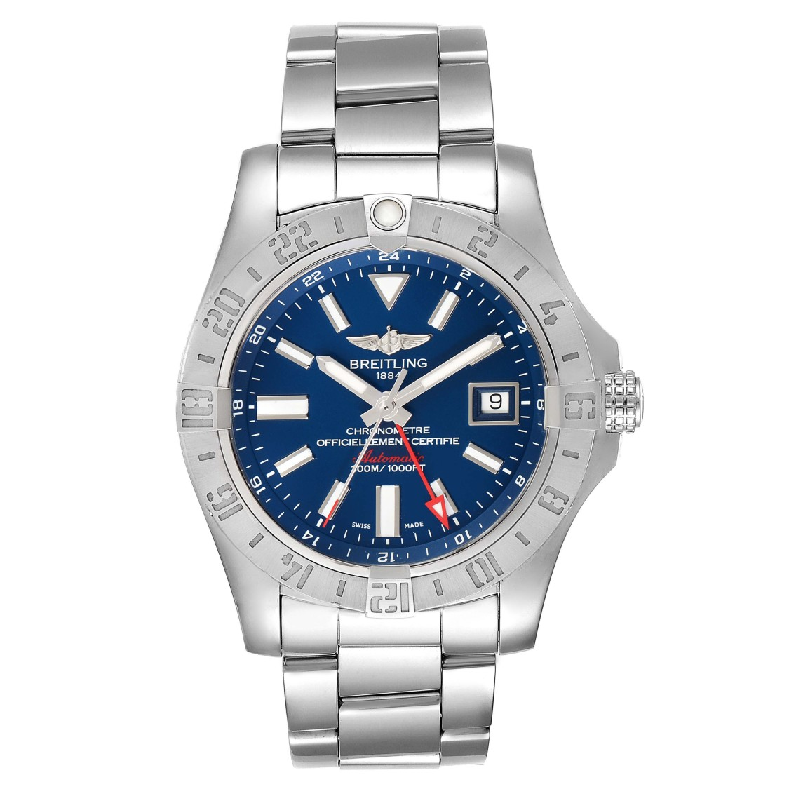 BREITLING AEROMARINE AVENGER II GMT BLUE DIAL MENS WATCH A32390 BOX PAPERS