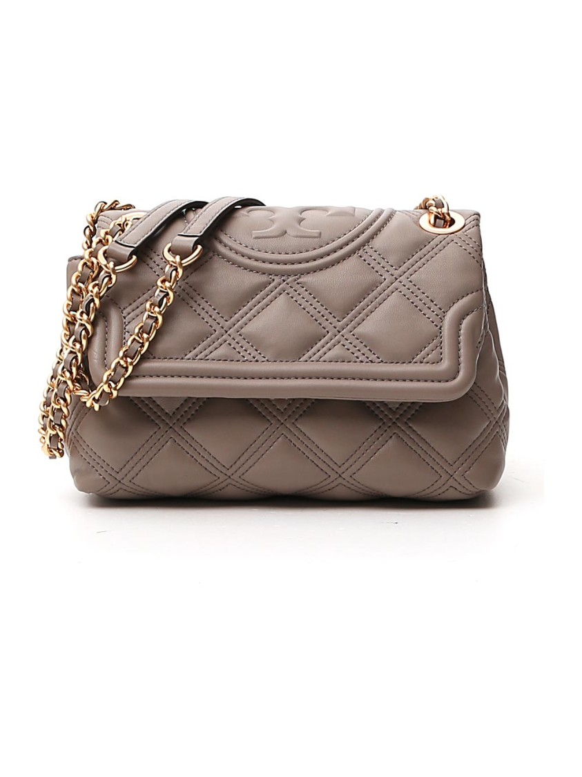TORY BURCH GREY LEATHER SHOULDER BAG