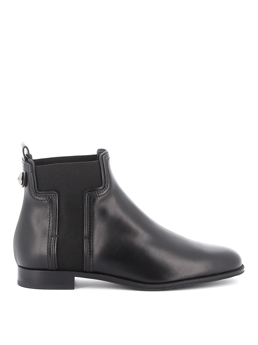 Tod's Leather Chelsea Ankle Boots In Grey
