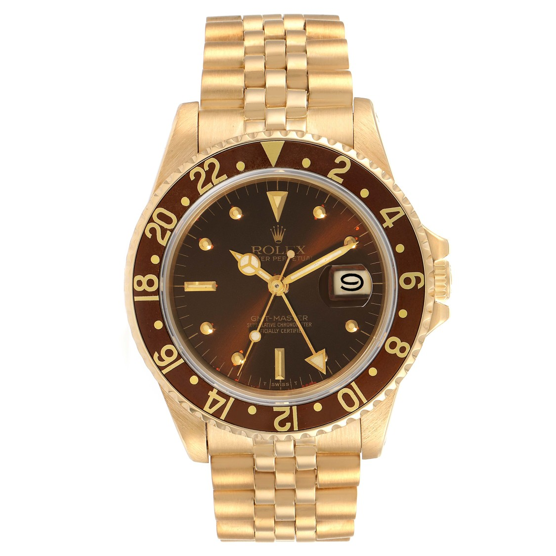 Pre-owned Rolex Gmt Master Rootbeer 18k Yellow Gold Mens Vintage Watch 16758