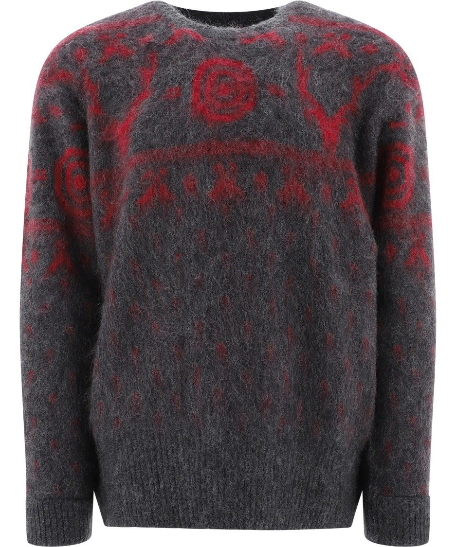 South2 West8 Jacquard Mohair Sweater In Grey