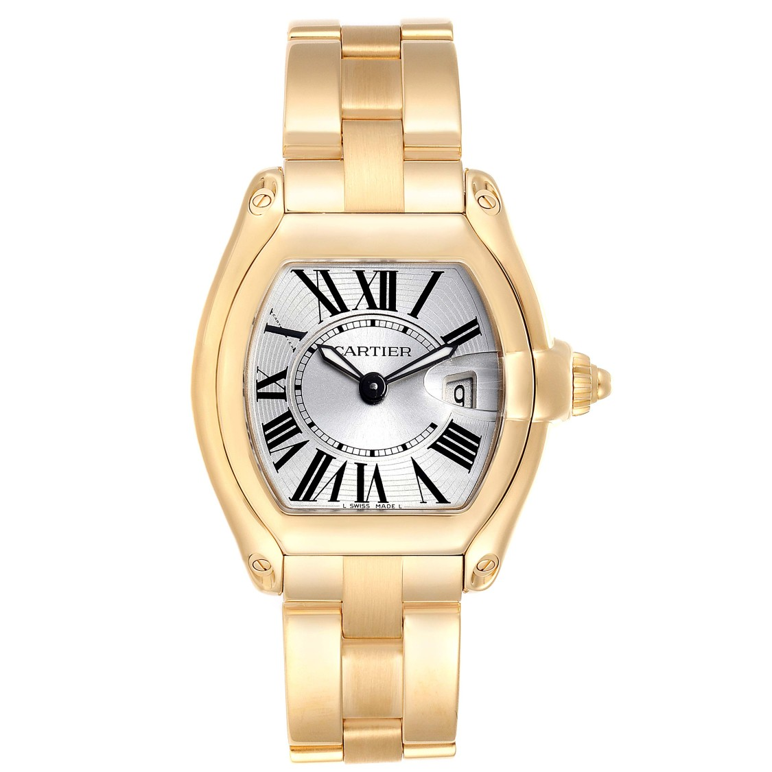 CARTIER ROADSTER LADIES 18K YELLOW GOLD LADIES WATCH W62018V1