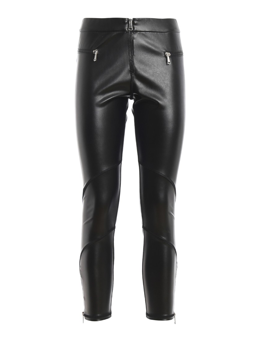 Faux Leather Leggings With Zippers