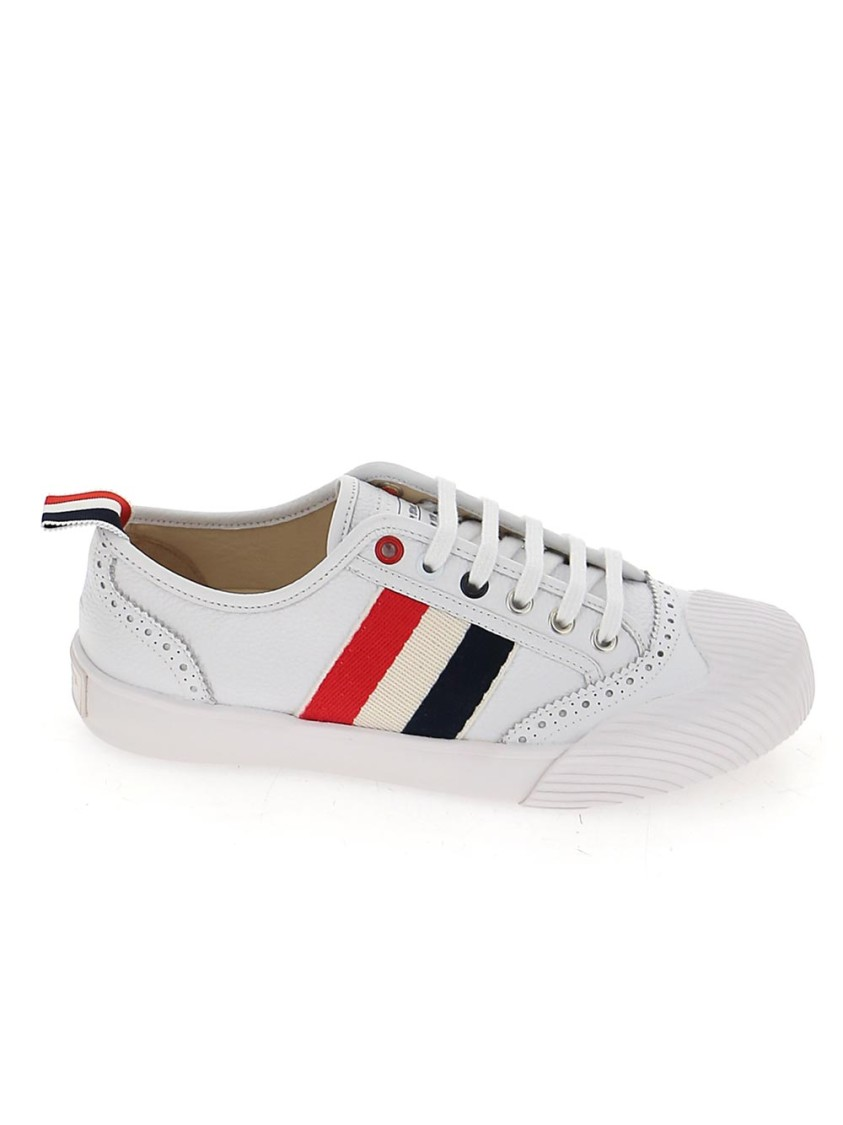 Thom Browne WHITE LEATHER SNEAKERS