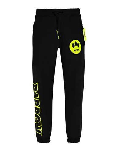 Sporty And Rich BLACK SWEATSHIRT TROUSERS WITH LOGO PRINT
