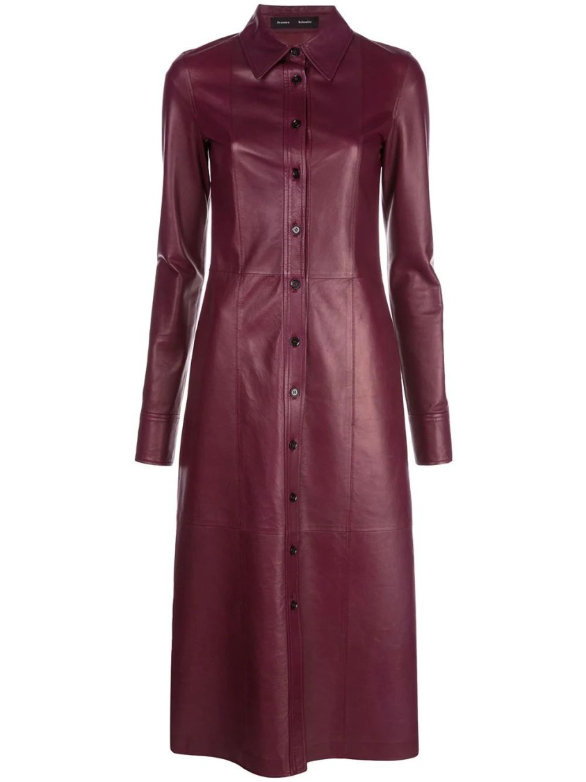 Proenza Schouler LIGHTWEIGHT LEATHER BORDEAUX SHIRT DRESS