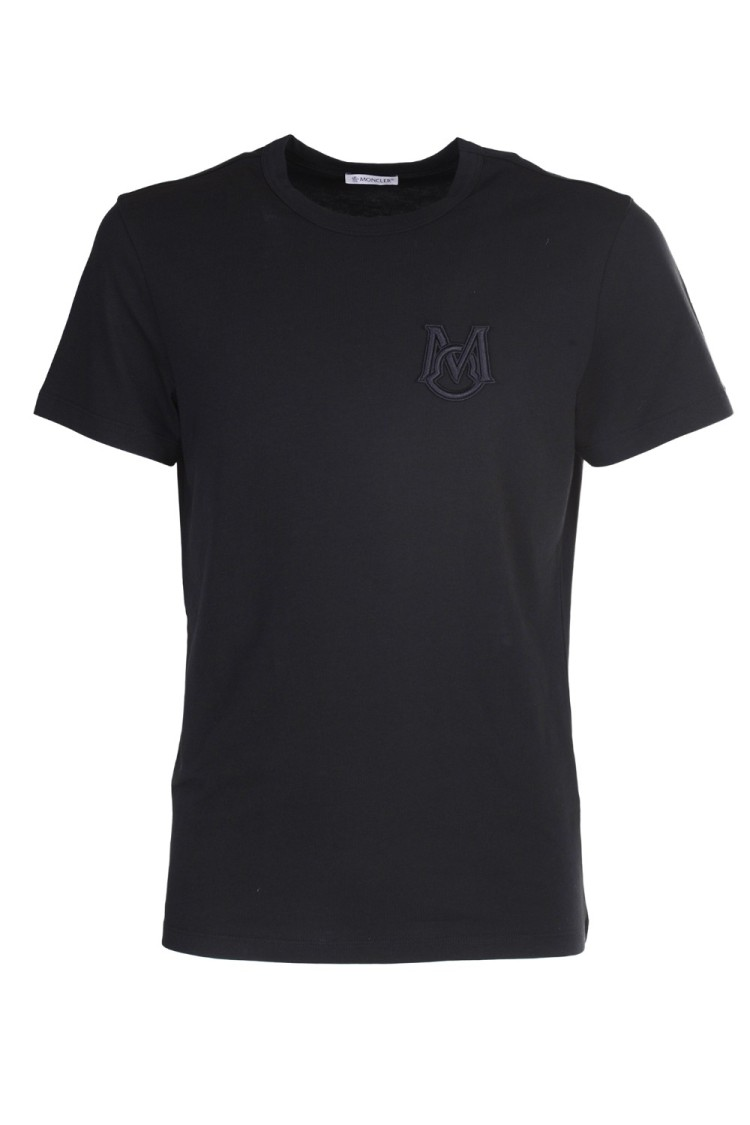 Moncler T-shirts BLACK COTTON T-SHIRT