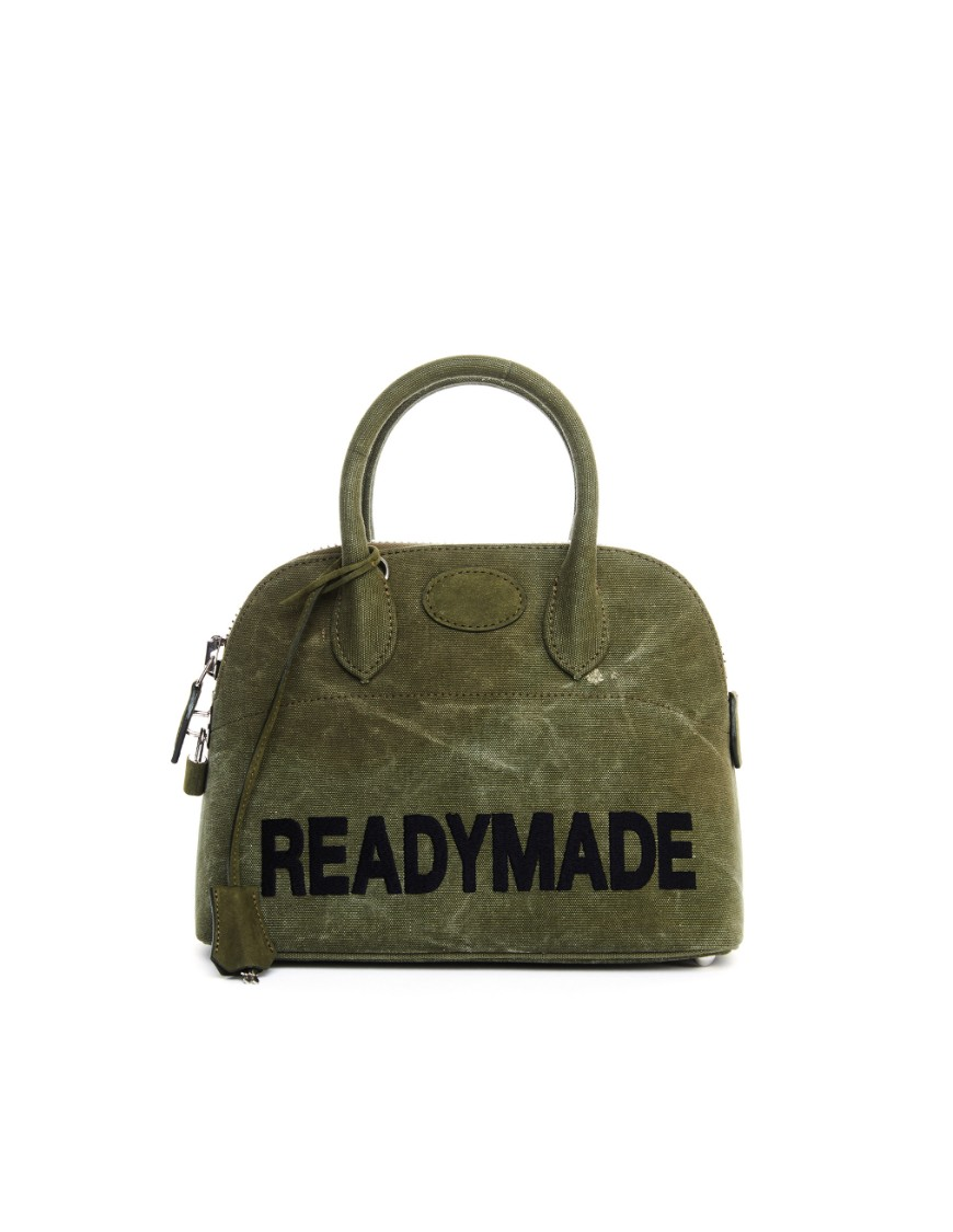 Readymade Embroidered Khaki Bag In Black
