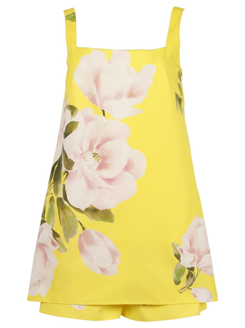 Valentino Cottons FLORAL PRINT PLAYSUIT, BRIGHT YELLOW