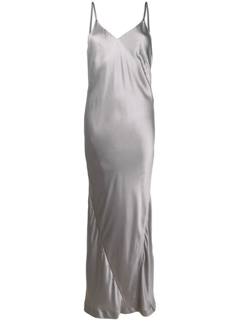 Haider Ackermann GREY SILK SLIP MAXI DRESS