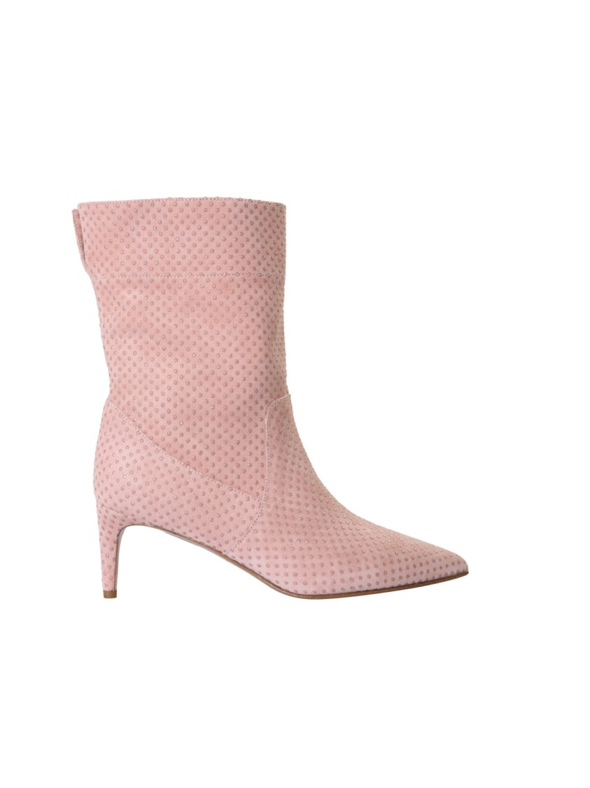 RED VALENTINO SOFTIES PINK LEATHER ANKLE BOOTS